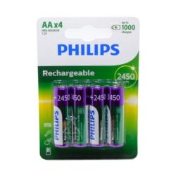 PILHA RECARREGAVEL PHILIPS - AA 4 - 2450 MAH - ORIGINAL