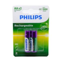 PILHA RECARREGAVEL PHILIPS - AA 2 - 2450 MAH - ORIGINAL