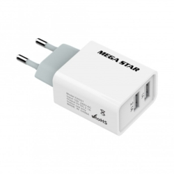 ADAPTADOR CARREGADOR MEGASTAR CH331 - 2 USB/1A+2.1A/2V