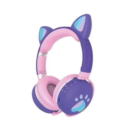 FONE LUO CAT EAR ME-2 BLT/LED/ LILAS/ROSA