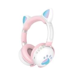 FONE LUO CAT EAR ME-2 BLT/LED/ BRANCO/ROSA