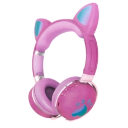 FONE LUO CAT EAR ME-2 BLT/LED/ ROSA