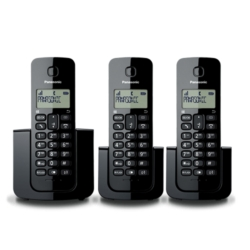 TELEFONE PANASONIC KX-TGB113LAB BINA/ 3BASE / 2V PRETO